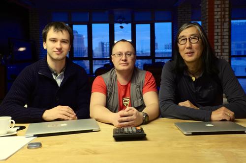 Трое российских ведущих разработчиков PostgreSQL: Александр Коротков, Федор Сигаев и Олег Бартунов (слева направо)